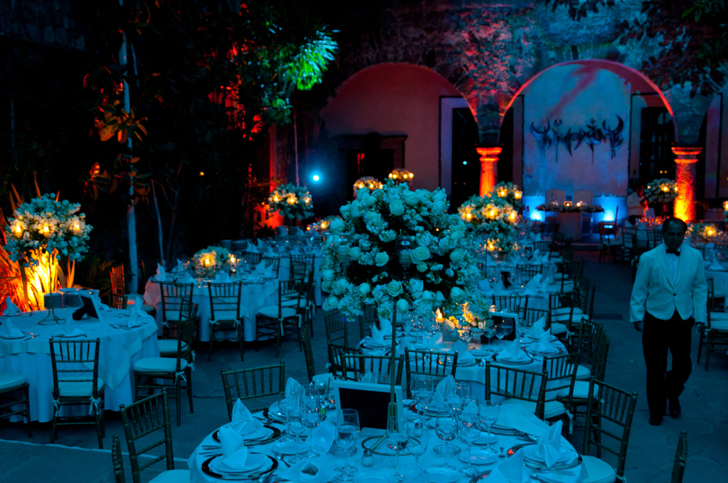 Light filled wedding reception
